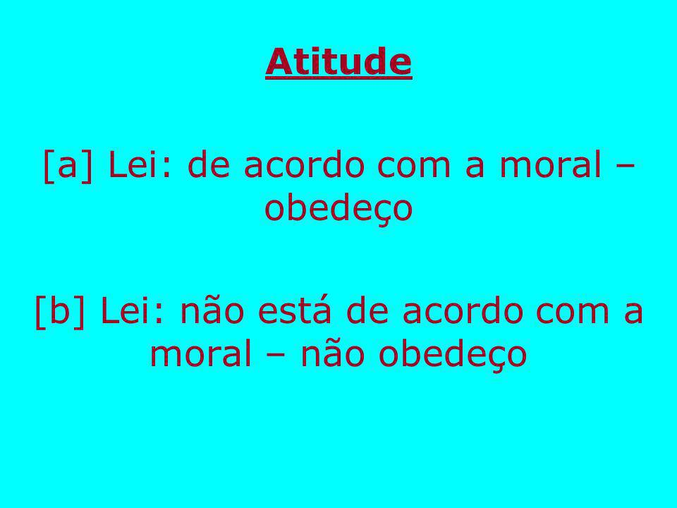 [a] Lei: de acordo com a moral – obedeço